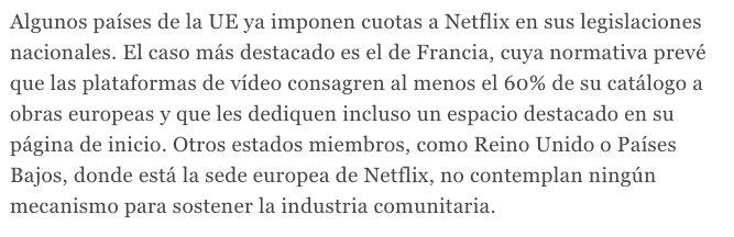 Como no pueden competir con Netflix, pues entonces les impongo cuotas. Pero lo llamaré protección de la cultura. https://t.co/3Qwy8o4iWW
