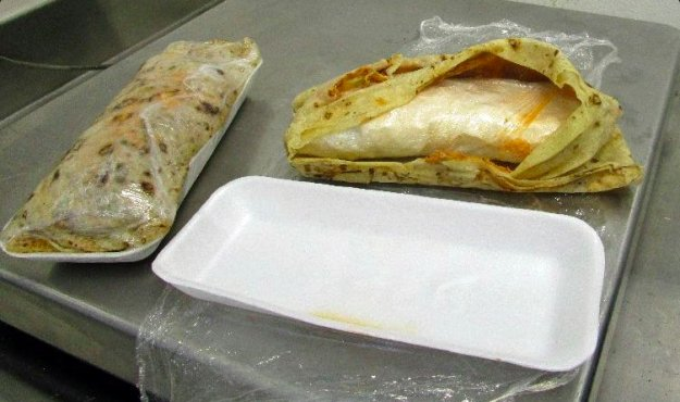A woman tried to smuggle over a pound of meth inside a burrito