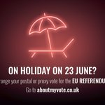 On holiday 23 June? Apply for a postal or proxy vote for the #EURef #youcantmissit https://t.co/9lCXJQK9SY https://t.co/wmA6CmLqMc