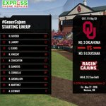 Starting lineup for Game 2 of Norman Super Regional. First pitch at 8:25pm on ESPNU. #GeauxCajuns https://t.co/Vjag4ANFzR