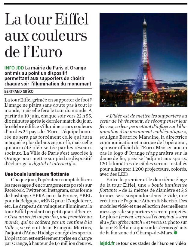 Une première pendant l'#EURO2016 , la @LaTourEiffel s'illuminera grâce à la ferveur des supporters https://t.co/6hy6BEuzWK