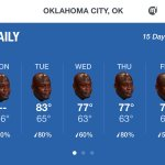 The weather in OKC for the rest of the week #Game7 https://t.co/hQFAxqMR5C