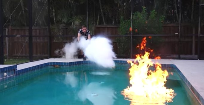 Backyard Scientist Sets His Swimming Pool On Fire Then Puts It Out With Liquid Nitrogen