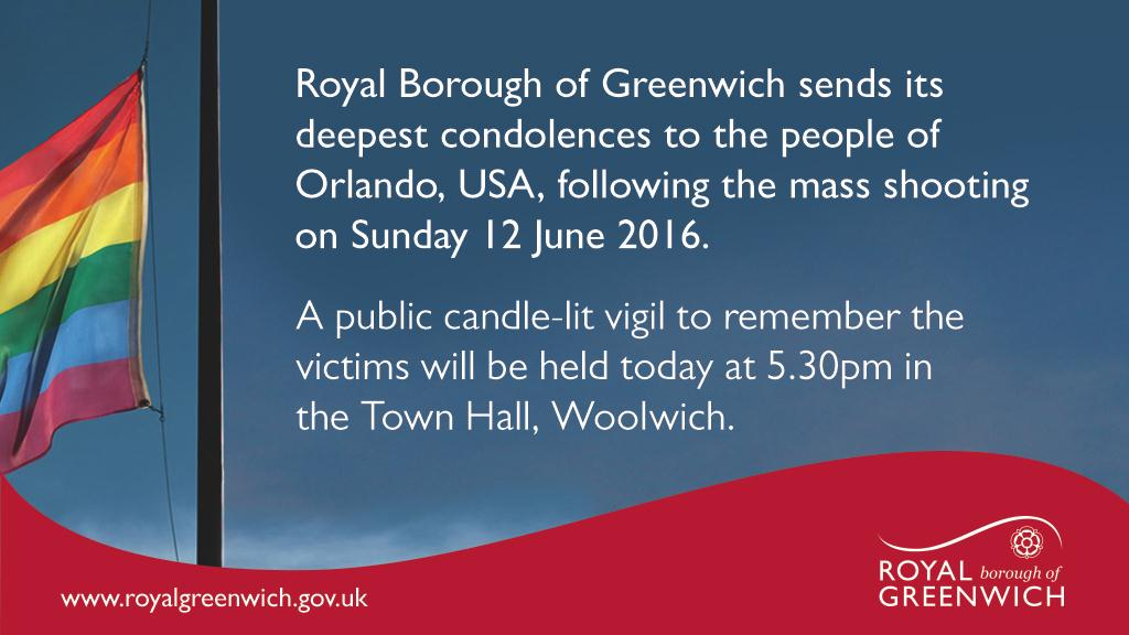 Candlelit vigil at Royal Borough of Greenwich to remember Orlando shooting victims and their families and friends. https://t.co/ntILjlkeBN