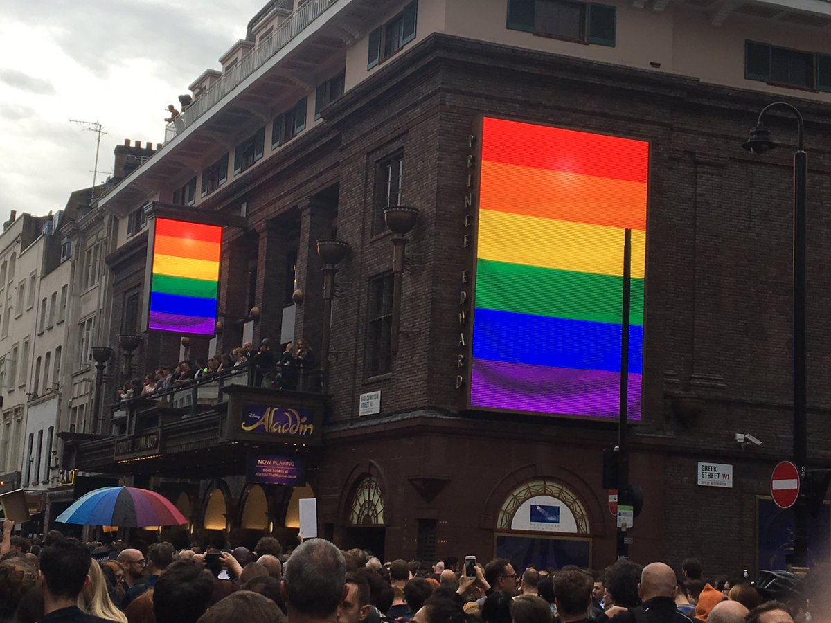 On Old Compton Street: heartbreaking two minute silence just observed for victims of yesterday's Orlando attacks. https://t.co/wnrX8aDG9g