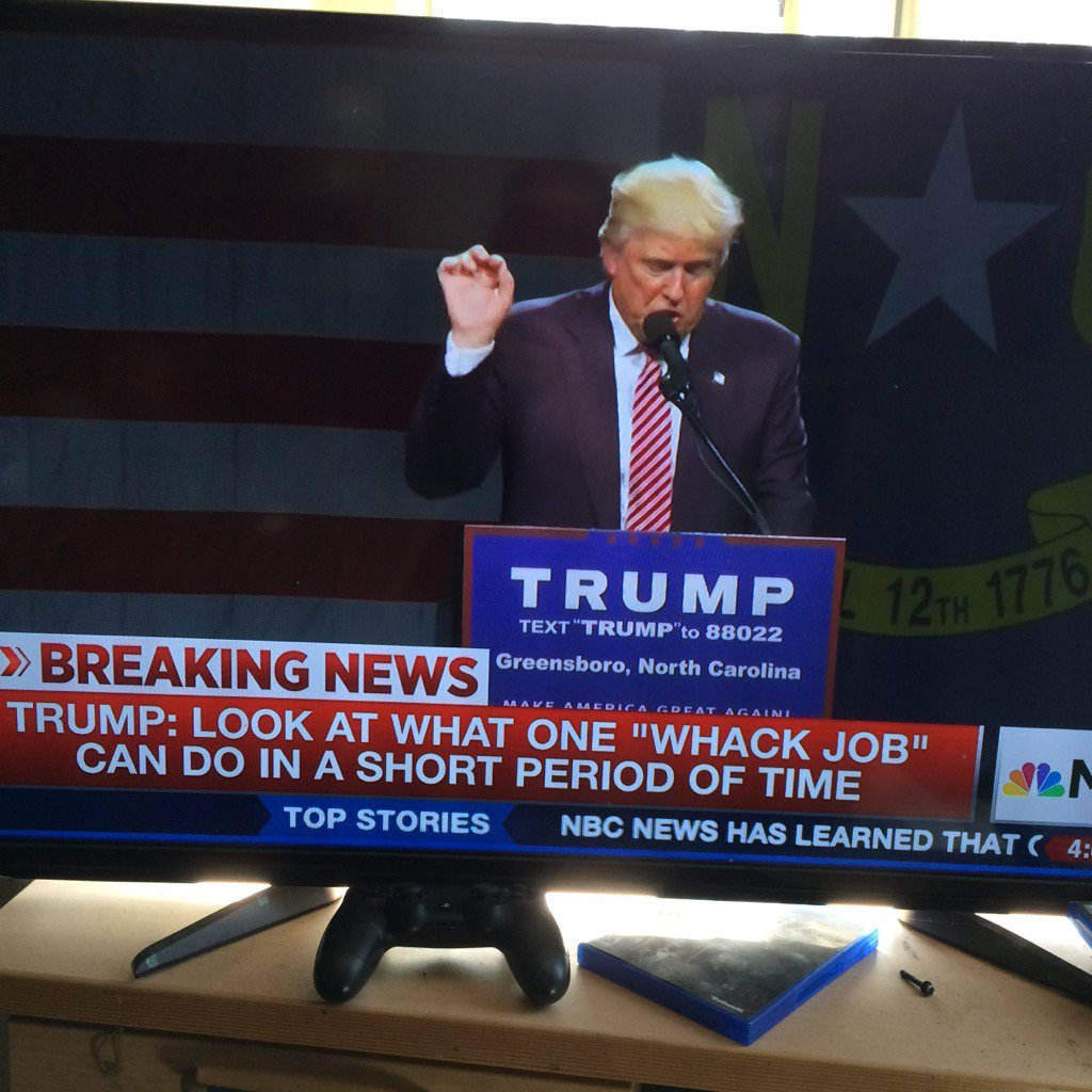 My TV is muted, did Trump just unveil his new campaign slogan? https://t.co/GHoV7wbAsD