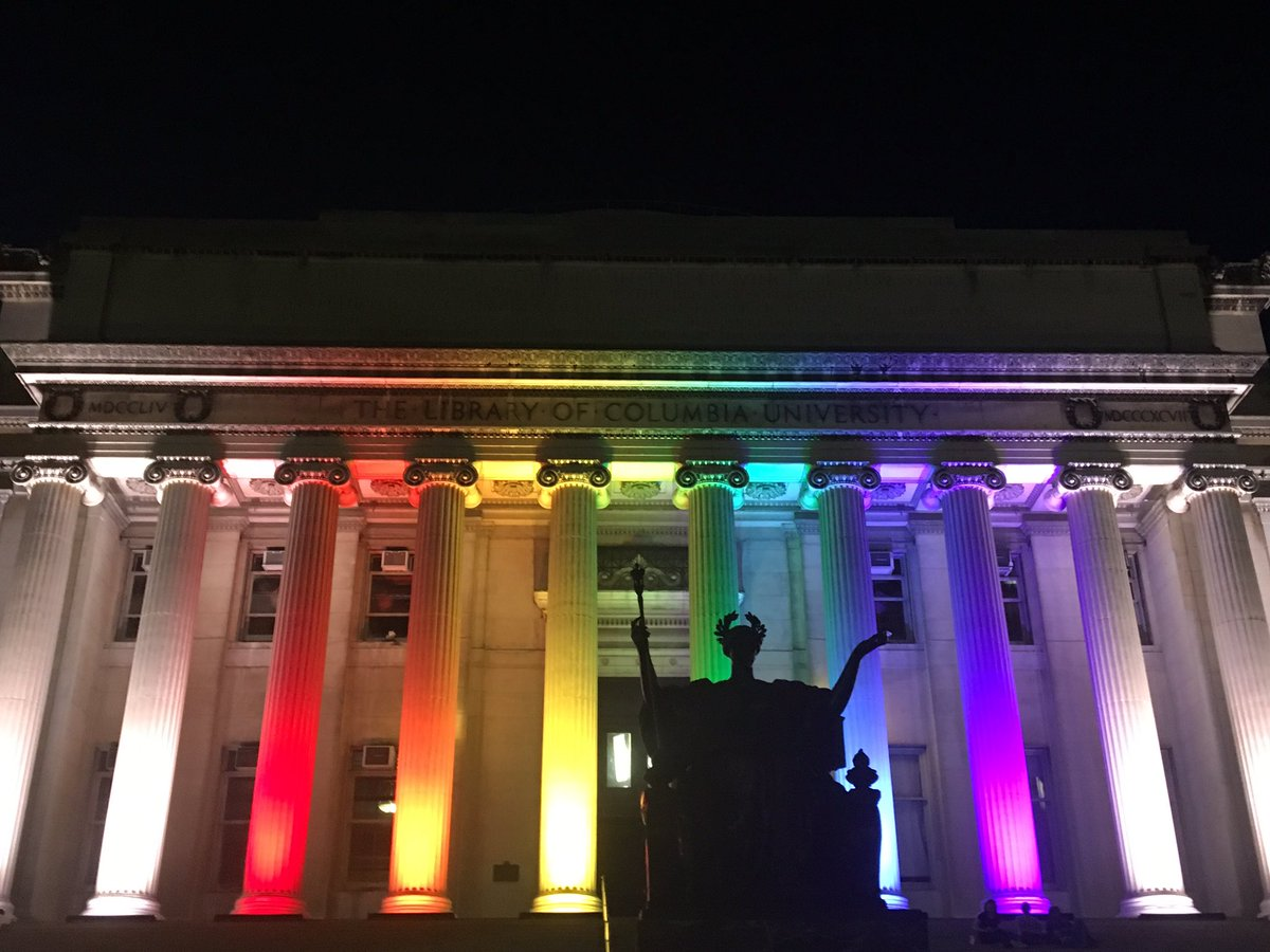 Low Library's columns are a rainbow tonight in homage to the victims of Sunday's attack. #orlando 1/2 https://t.co/0tRgvVMwJ7
