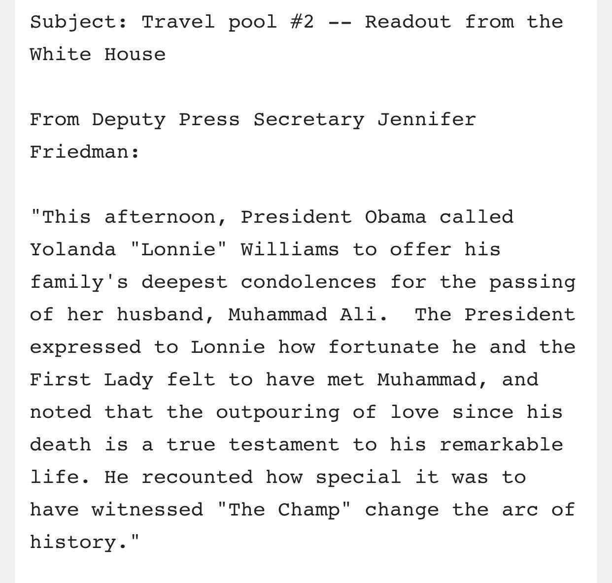 "This afternoon, President Obama called Muhammad Ali's widow, Yolanda ""Lonnie"" Williams: https://t.co/olONq9HJI3"