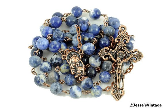 Traditional Rosary Catholic Sodalite Natural Stone Copper Rustic Rosary Beads  https://t.co/qvOeZPNPxz #Etsy https://t.co/l8tF8BWtJF