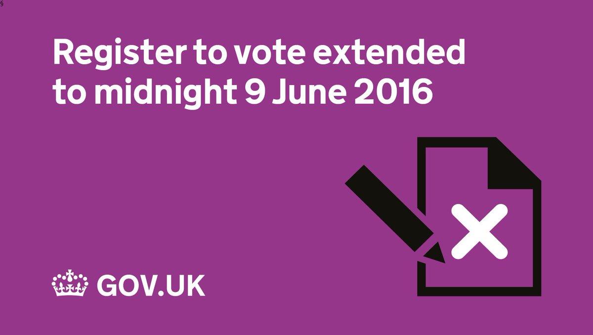 Register to vote has been extended until midnight tomorrow, 9 June https://t.co/TamCG22K5e #EURef #voterregistration https://t.co/Y7kj1jvNNR