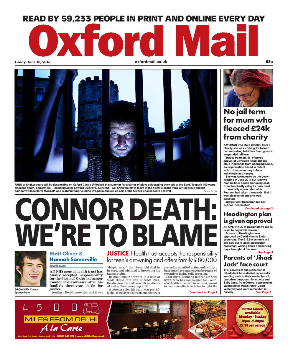 Today's front page; Trust accepts responsibility for Connor Sparrowhawk's death #Oxford https://t.co/PWDectlkW4 https://t.co/T6cWktPcNL
