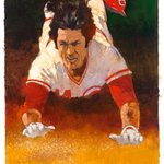 A gift for @PeteRose_14, Bart Forbes painting of the Hit Kings signature slide. #14forever https://t.co/Nnacv3PwZX