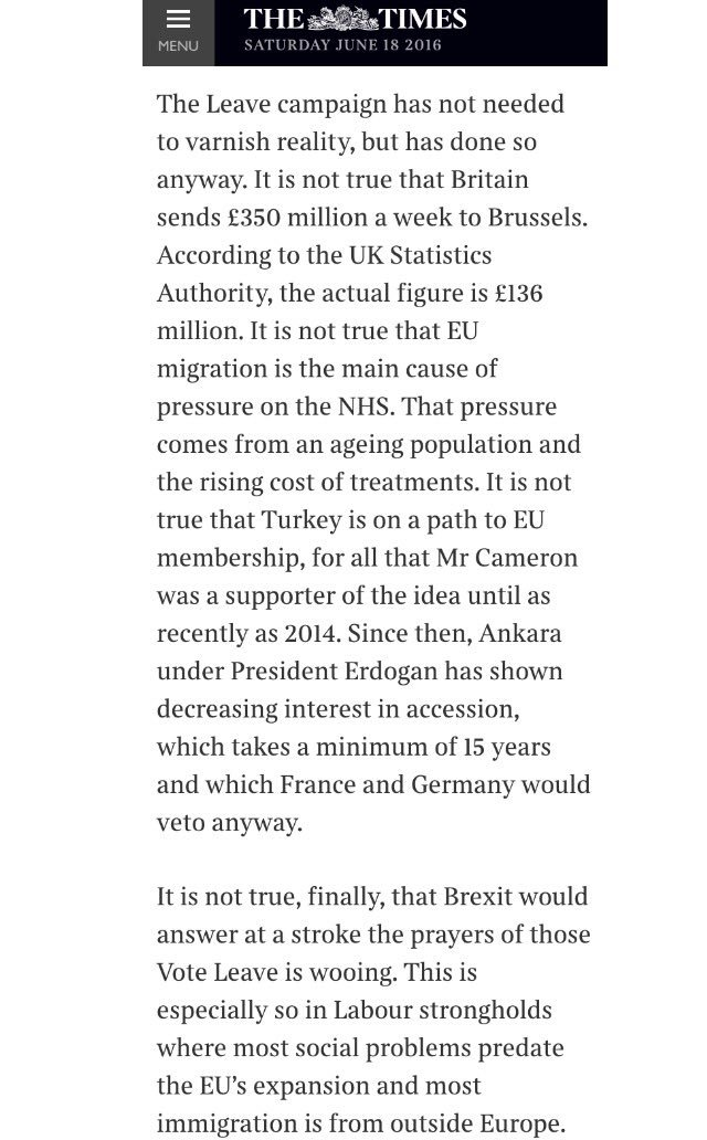 The Times is backing Remain. Read why (for free). Includes this exploding of Brexit myths https://t.co/JEsnQJXDcY https://t.co/IXk685uvES