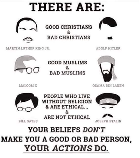 Your beliefs don't make you a good or bad person, your actions do. https://t.co/TCTf6IkYcs
