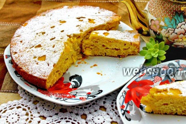 Пирог с персиками с фото в мультиварке