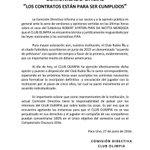 Comunicado oficial del Club Olimpia sobre el caso Piris Da Motta https://t.co/mIJ4X86MNx