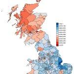 青い地方は離脱派が、赤い地方は残留派が多い地域。ロンドン(と地方の中規模都市)+スコットランド(残留派)対その他田舎(離脱派)の戦いであることが明瞭。https://t.co/RrhnYn6DWD