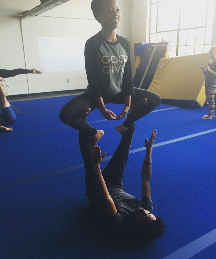 Happy #YogaDay. Me and @Raury at an Acro Yoga class last year