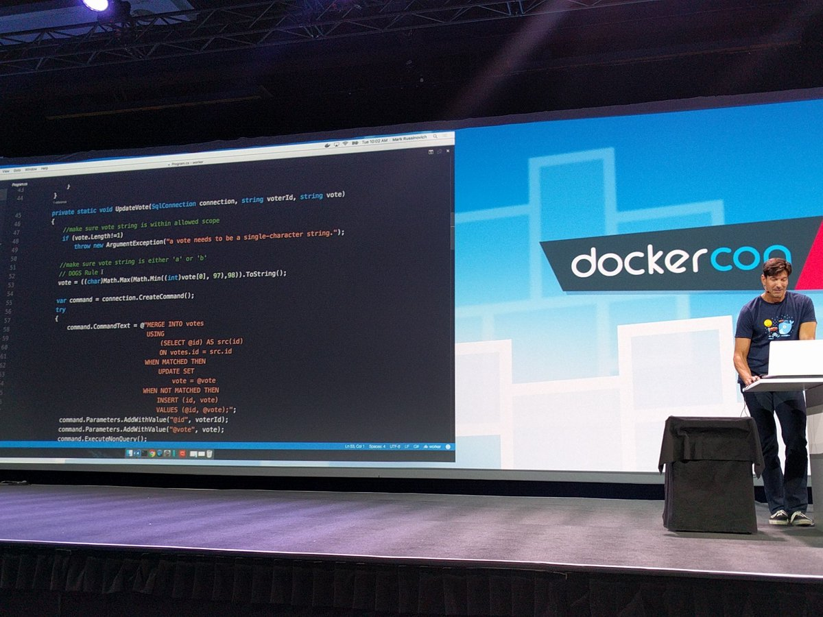 VS Code debugging inside containers @markrussinovich #DockerCon https://t.co/jLNpDt8ZTA