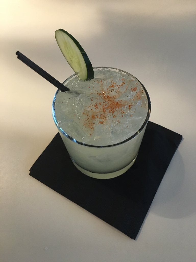 Check out the Viper -- patron, orange liqueur, lime juice, cucumber water & cayenne pepper