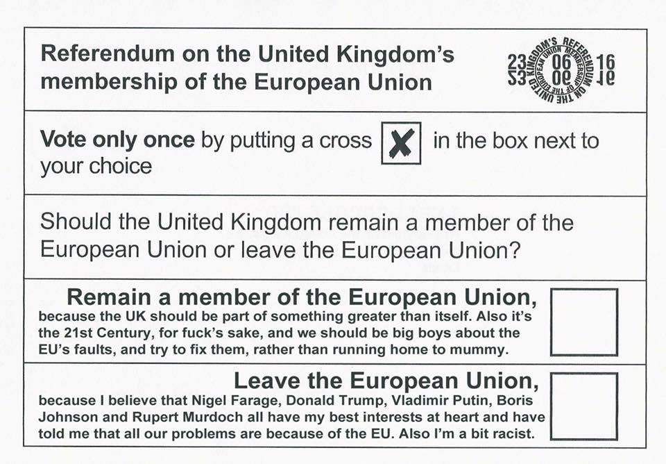 What the #brexit voting ballot should've looked like: https://t.co/pHpwu6mZ4p