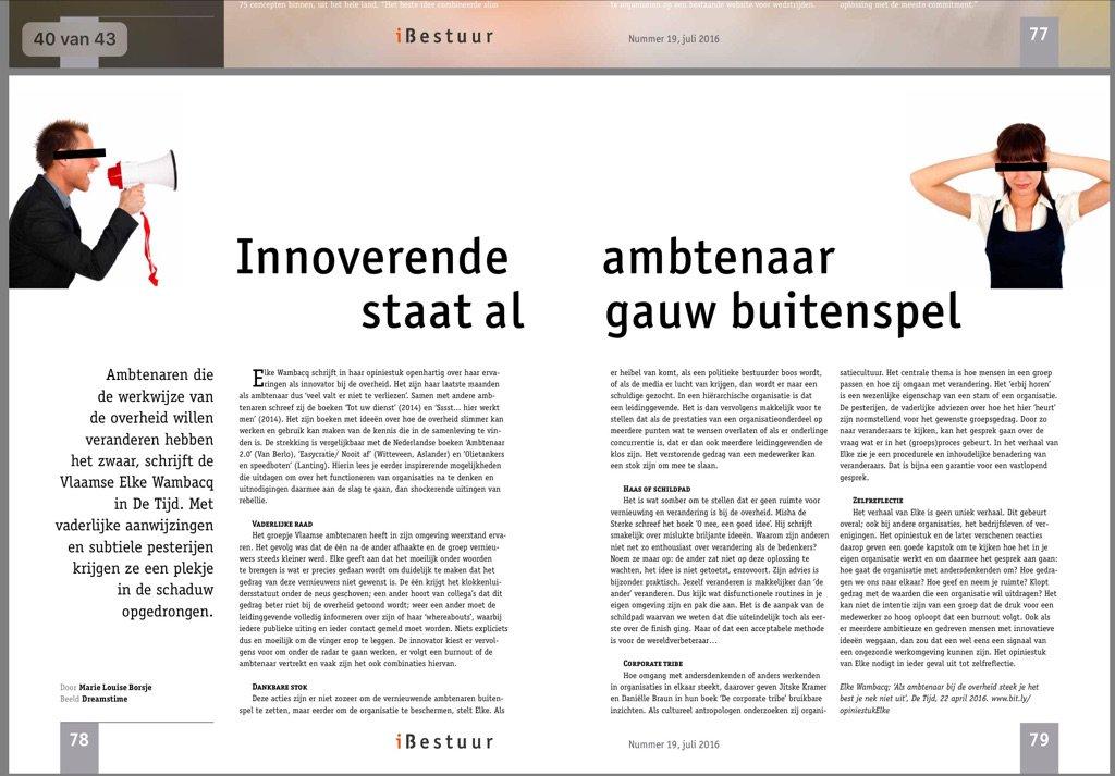 'Innoverende ambtenaar staat al gauw buitenspel' @mlborsje #ambtenaar20 in @iBestuur 19 https://t.co/966zSBBxIp