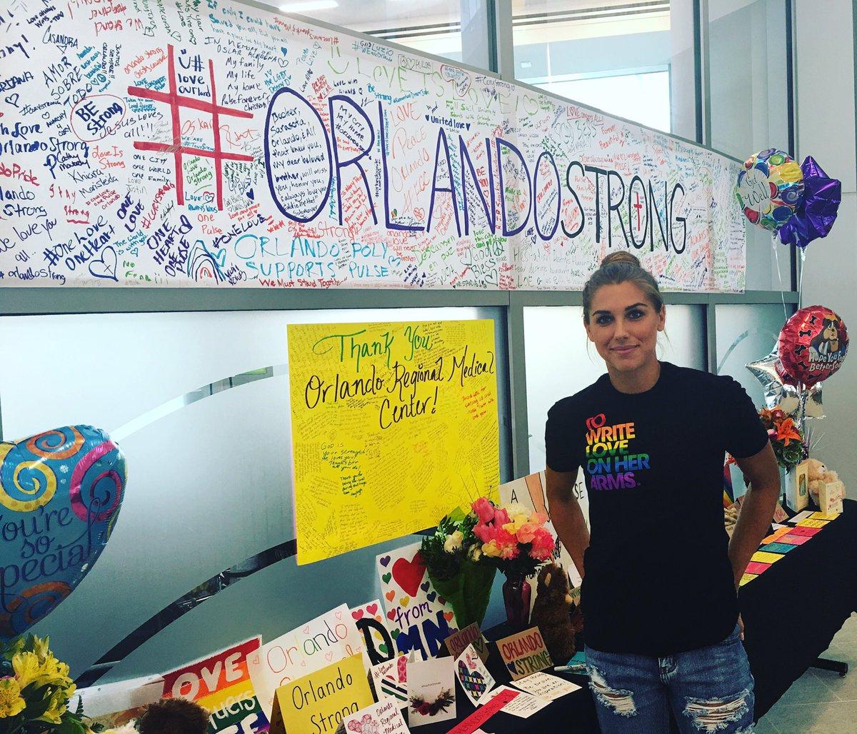 Thanks to @alexmorgan13 for visiting #PulseShooting victims at #ORMC today. #OrlandoUnited #OrlandoStrong https://t.co/GIJyqCleHa