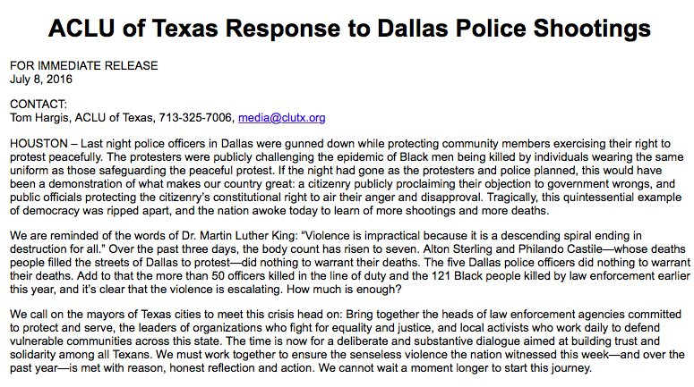 Our response to the #DallasPoliceShooting: https://t.co/rXLW4lXNJu https://t.co/vnfOj2PCVm
