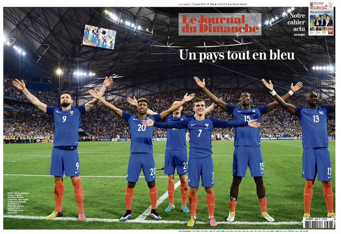 La une du JDD : Un pays tout en bleu (16 p.), Hollande parle foot, sondage sur les Bleus + Macron sur le départ. https://t.co/IXcAJRxrl2