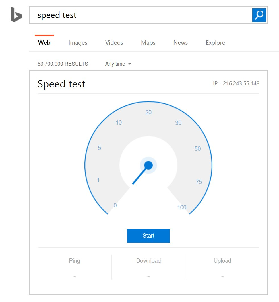 So Google is testing a internet speed tool in search results? Hm. @Bing already has that :-) https://t.co/XAsQ9IF7qz