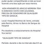 Pessoal, especialmente os de Porto Alegre, RT do bem pra ajudar essa menina de 9 anos q está com leucemia. Grato. https://t.co/KfmiQl5UuX
