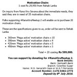 Just in - Here is the breakdown for motivation chairs requested by Rana Viru Sevana.  Come join #RanaViruMeetup 2 https://t.co/5g4fIwxLFt