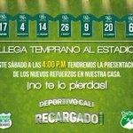 ¡Familia Verdiblanca! el sábado tendremos la presentación de los nuevos jugadores en nuestro Estadio. #CaliSomosUno https://t.co/fYcLjZpyHE