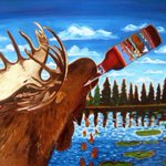 The #ThirstyThursday #beer #painting is of a moose drinking a Moose Drool by @BigSkyBrewing https://t.co/9Z91I6WkYw https://t.co/4fISDaPVWe