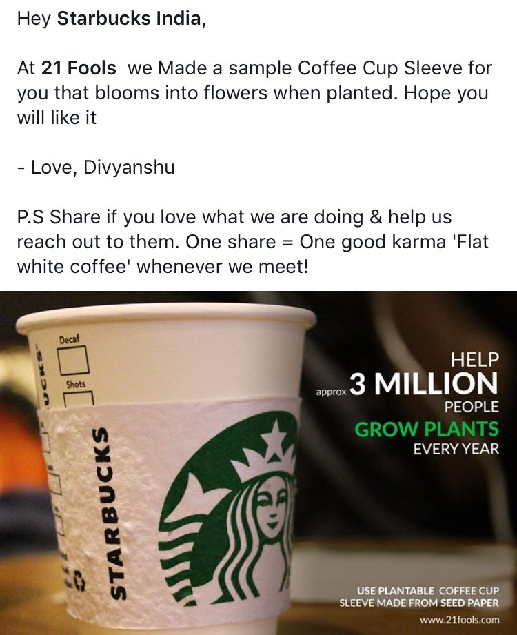 Hi @Starbucks , you have to see this brilliant initiative with your coffee sleeve that once got you into trouble