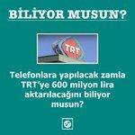 Telefonlara yapılacak zamla TRT'ye 600 milyon lira aktarılacağını biliyor musun? #ProtestoEdiyorum https://t.co/SiwSX0dLyp