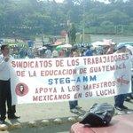 Sindicato de Trabajadores de la Educación de Guatemala cierran la frontera en Talismán, Chiapas en apoyo a las CNTE. https://t.co/z8CmIVbbLb