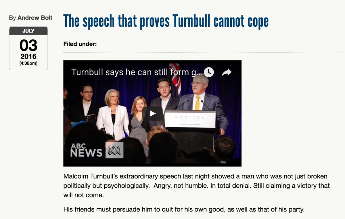 Andrew Bolt says PM is broken mentally + must resign. Mr Bolt was speaking from a cardboard box in his panic room. https://t.co/wzbHtqI371