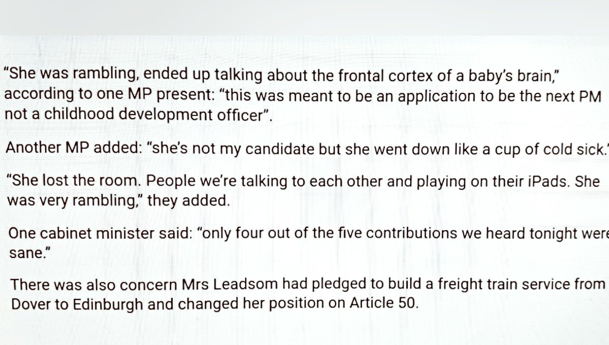 Some gems about Andrea Leadsom's performance at the 1922 Committee (via @MrHarryCole @TheSun) #ToryLeadership https://t.co/4WkEblbSSm