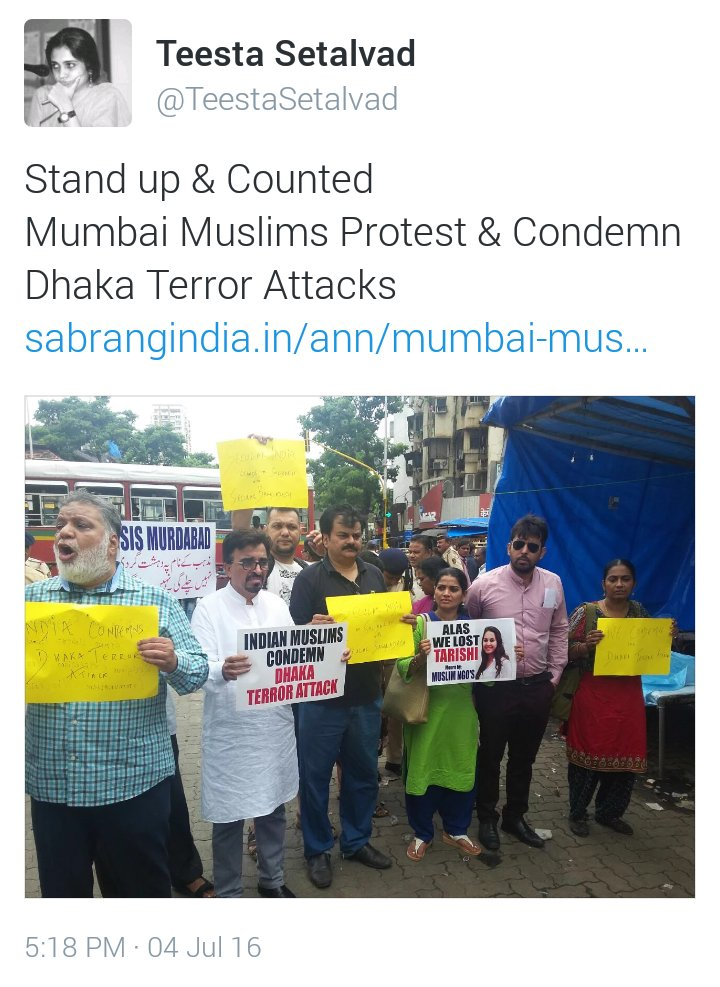 @TeestaSetalvad Why only 7 Mumbai Muslims condemning Dhaka Attack? Where are all those who attended Yakub's funeral? https://t.co/LWJQAXaRAD
