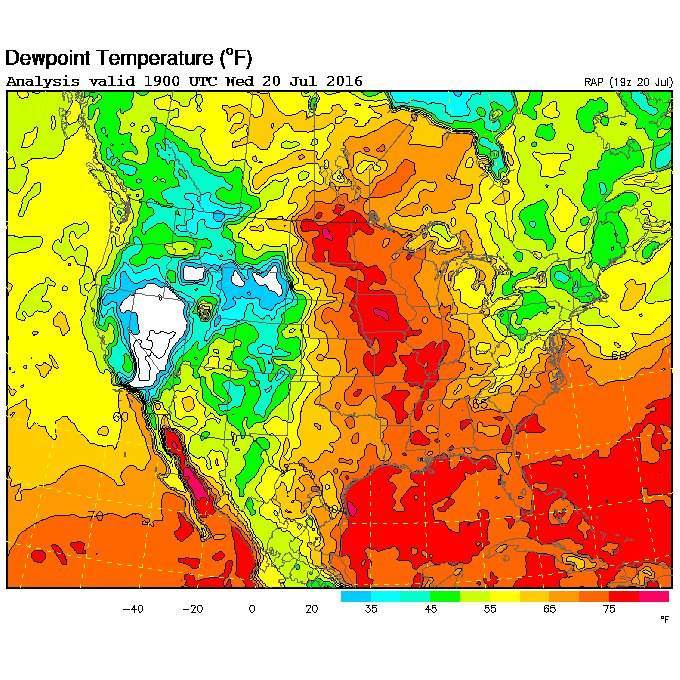 Kind Of An Insane Dewpoint Map Right Now With Deg Dewpoints - Us dewpoint map