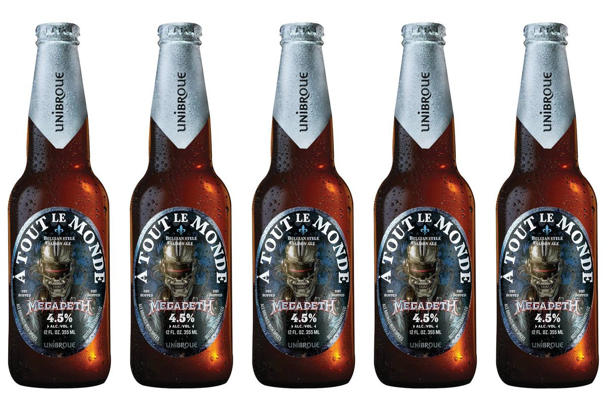 Meanwhile @Megadeth is releasing their own beer, À Tout Le Monde, a Belgian-style saison brewed @Unibroue. https://t.co/xH1AvBCp9r