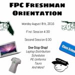 Freshman Orientation will be held on Aug 8. Please choose which session works best for you. Times are 4:30 and 6:30 https://t.co/hghESVX4Wx
