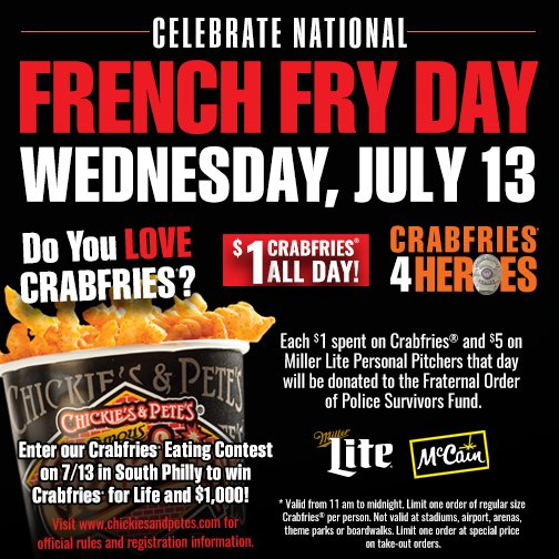 Today is the day! Come support the @FOPLodge5 Survivors Fund by celebrating with our $1 crabfries and $5 pitchers! https://t.co/zNOcd8iwT5