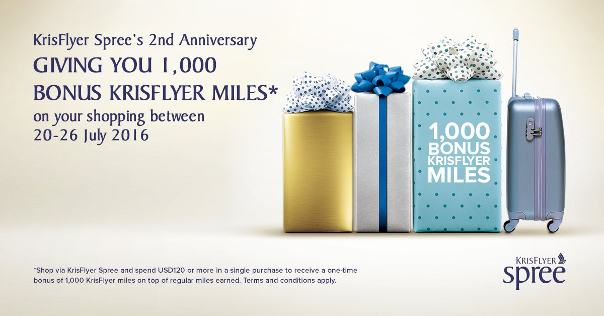 Celebrate 2 years of earning miles via KrisFlyer Spree with 1,000 bonus miles! T&Cs apply: