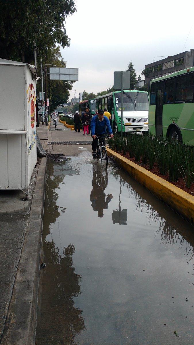 @072CDMX hay un encharcamiento en la #ciclovia de Revolución a la altura del metro San Pedro de los pinos https://t.co/znc3MpxQSB