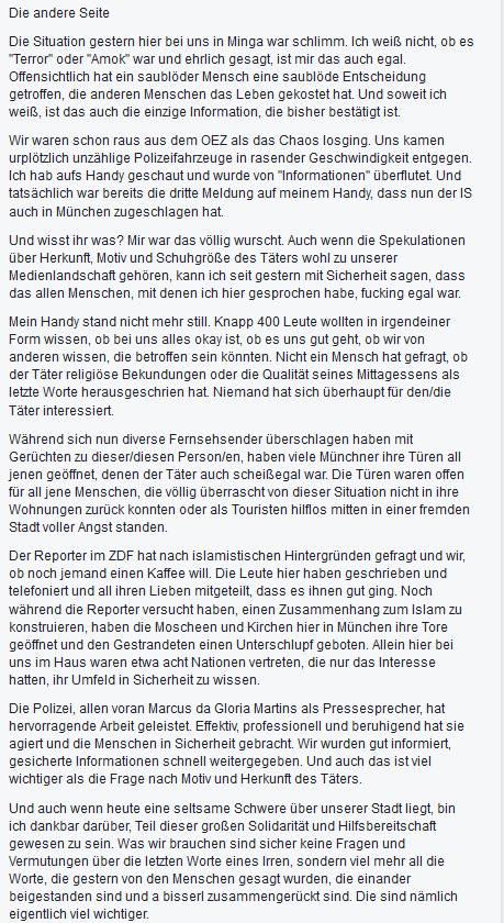 Jemand bei Facebook schrieb den Kommentar und ich denke,es trifft es genau.Dickes Danke an @PolizeiMuenchen #Munich https://t.co/gvKBYI2PjY