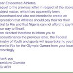 After the embarrassment caused by the exposure of their shenanigans by the athletes, a quick about turn by 🇳🇬 Ogas https://t.co/cgrGdjE01Y