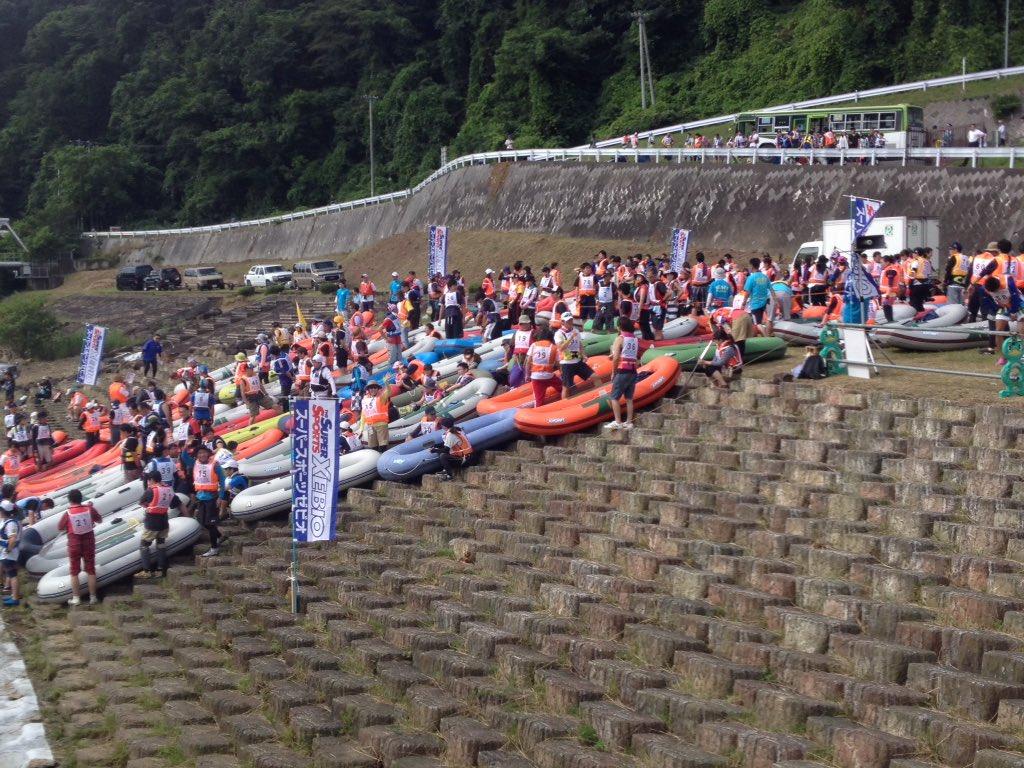 北上川ゴムボート川下り大会スタート地点の四十四田ダムにはたくさんのボートがスタートの9時を待っていま…