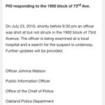 Heading to 1900 block of 73rd ave., where an @oaklandpoliceca officer was shot at, but not struck. #oakland https://t.co/qxnMICybRG